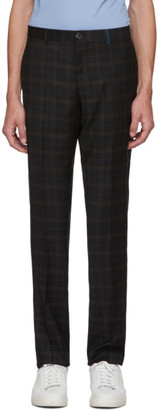 Paul Smith Black and Brown Tartan Wool Mid-Rise Trousers