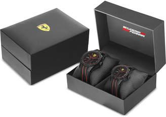Ferrari Men's Red Rev Black Silicone Strap Watch 38mm & 44mm Gift Set