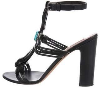 Valentino Leather Round-Toe Sandals