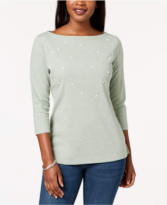 Karen Scott 3/4-Sleeve Pearl-Embellished Top