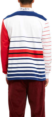 Opening Ceremony Red Sleeve Multi Striped Rugby Top