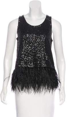 Calypso Faux Feather-Trimmed Sequin Top w/ Tags