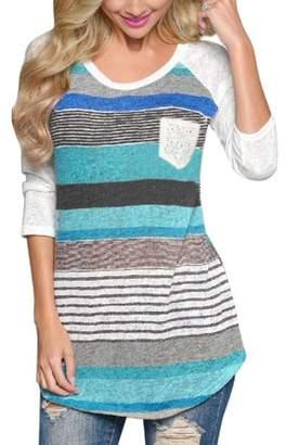 Unique Bargains Women's Long Raglan Sleeves Stripes Contrast Color Tunic Top