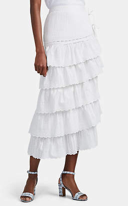 SIR the Label Women's Celie Cotton Eyelet Tiered Skirt - White