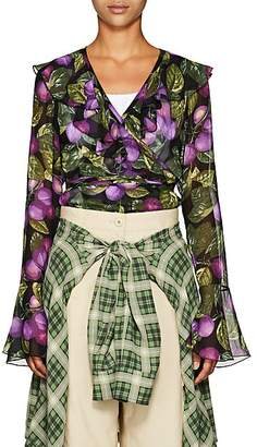 Marc Jacobs Women's Plum-Print Chiffon Wrap Blouse - Purple Pat
