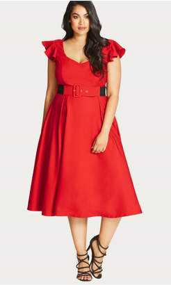 City Chic Flirty Flutter Fit & Flare Dress