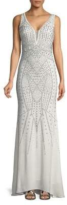 Xscape Evenings Sleeveless Bead-Embellished Gown