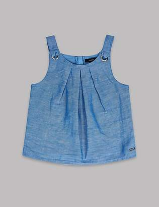 Autograph Linen Blend Chambray Top (3-16 Years)