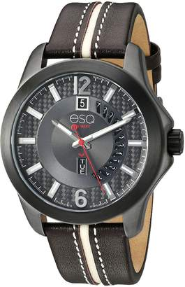 ESQ by Movado ESQ Men's ' Quartz Stainless Steel and Leather Casual Watch, Color Brown (Model: 37ESQE09301A)