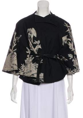 Alexander McQueen Leather-Trimmed Floral Cape
