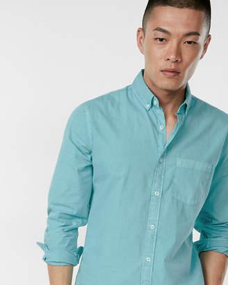 Express Slim Garment Dyed Long Sleeve Cotton Shirt