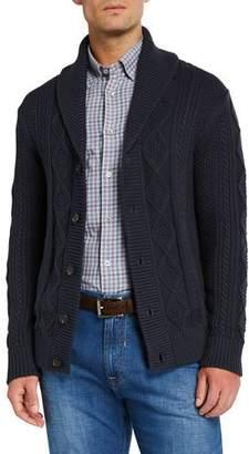 Neiman Marcus Men's Organic Cotton Cable-Knit Cardigan Sweater