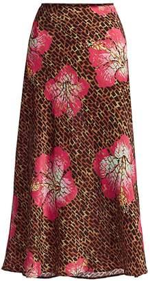 Rixo Kelly Floral & Giraffe Print Silk Slip Skirt