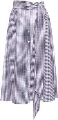 LISA MARIE FERNANDEZ Checked button-up A-line cotton skirt $431 thestylecure.com
