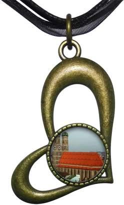 Munich GiftJewelryShop Bronze Retro Style Travel frauenkirche Hollow Love Heart Round Pendant Necklace