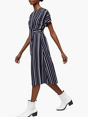 Warehouse Striped Button Waist Dress, Blue/Multi