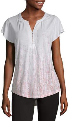 Liz Claiborne Womens Split Crew Neck Short Sleeve T-Shirt