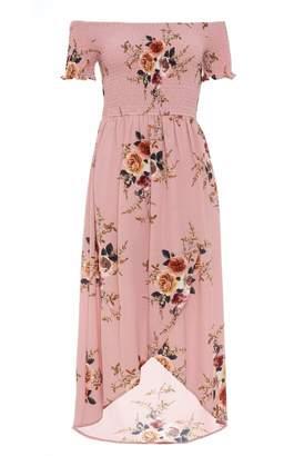 Quiz Pink Floral Print Bardot Wrap Dress