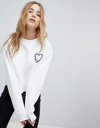 Miss Selfridge Embroidered Heart Sweatshirt