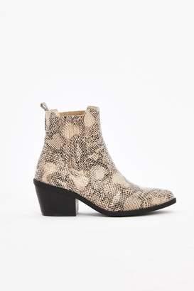 WallisWallis Stone Snake Print Cowboy Boot