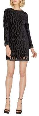 Adelyn Rae Holiday Courtney Long-Sleeve Velvet Shift Dress