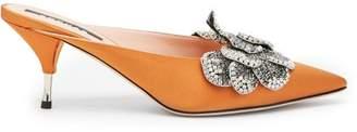 Rochas Devon Point Toe Satin Mules - Womens - Dark Orange
