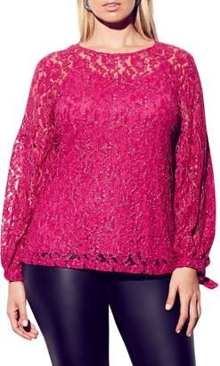 City Chic Metallic Detail Cotton Blend Lace Blouse
