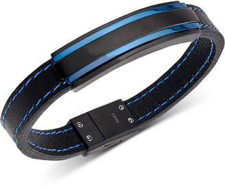 9810e30ddc69 Macy s Men s Two-Tone Black Leather Bracelet in Matte Black   Blue  Ion-Plated