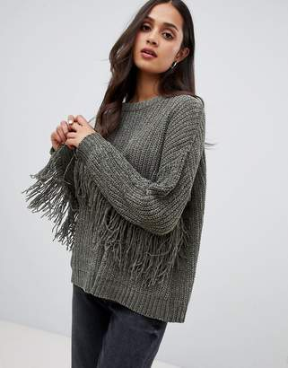 Brave Soul emery chenille sweater with fringing