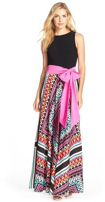 Women's Eliza J Jersey & Crepe De Chine Maxi Dress $158 thestylecure.com