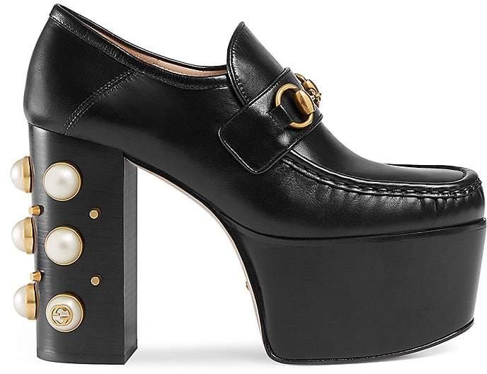 Gucci Women's Vegas Leather Platform Pumps