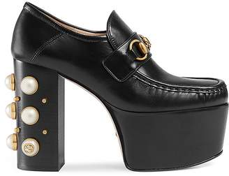 Gucci Women's Vegas Leather Platform Pumps