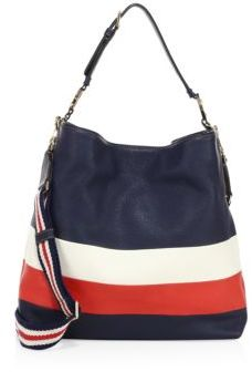Tory Burch Duet Stripe Leather Hobo Bag $495 thestylecure.com