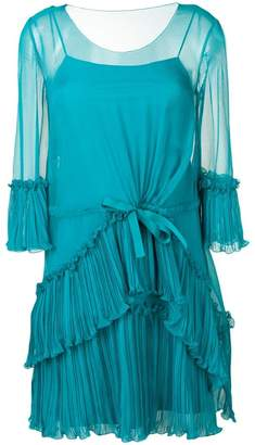 Alberta Ferretti micro pleated mini dress