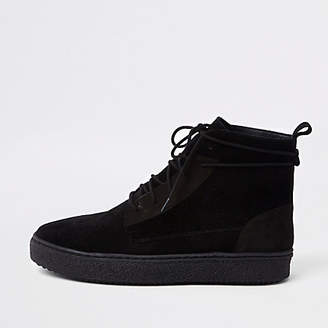 River Island Black suede wrap around desert boots