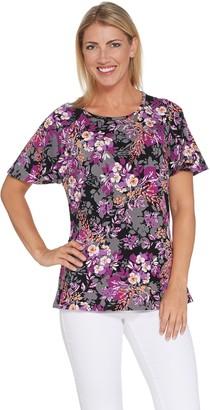 Denim & Co. Floral Print Round-Neck Flutter Sleeve Top