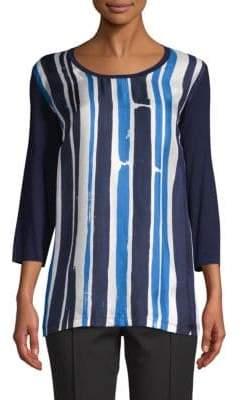 Veletta Striped Silk-Front Tee