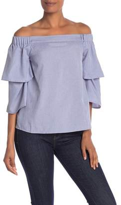 Rachel Roy Off-the-Shoulder Layered Bell Sleeve Blouse