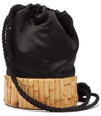Glorinha Paranagua Saigon Satin And Bamboo Bucket Bag - Womens - Black