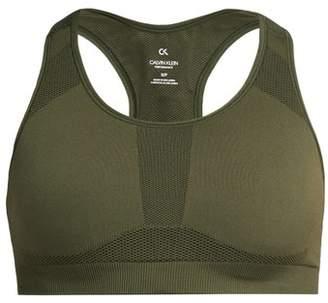 Calvin Klein Racerback Stretch Jersey Sports Bra - Womens - Khaki Print