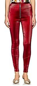 Area Women's Esme Stretch-Lamé Zip-Front Leggings-Red