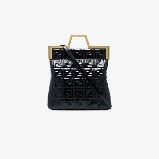 Fendi Black FF logo patent leather tote bag