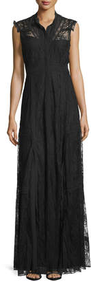 Needle & Thread Sleeveless Button-Front Lace-Overlay Gown