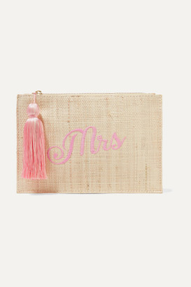 Mrs Embroidered Woven Straw Pouch - Beige