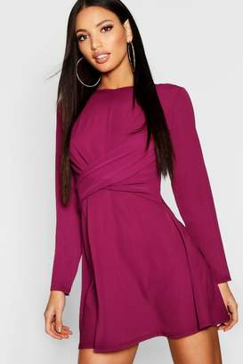 boohoo Wrap Front Woven Skater Dress