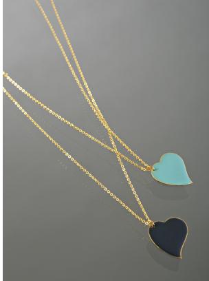 Danielle Stevens turquoise and navy enamel heart necklace