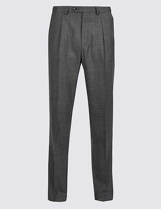 Marks and Spencer Tailored Wool Blend Single Pleated Trousers