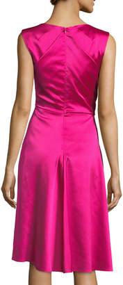 Talbot Runhof Sleeveless Wrap-Front A-Line Crepe Satin Cocktail Dress