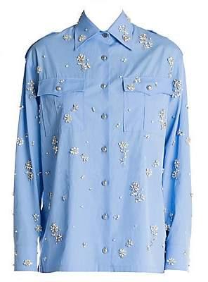 Prada Women's Embellished Cotton Poplin Utility Blouse