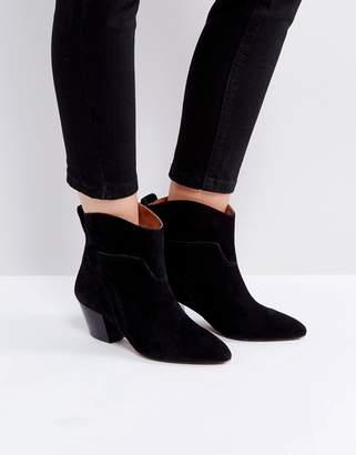 Hudson London Karyn Black Suede Mid Heeled Ankle Boots